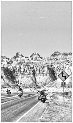 riders in the badlands, south dakota