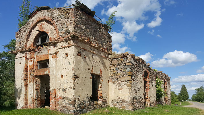 Bombed church, Sniķere, Auce Pagasts, Latvia