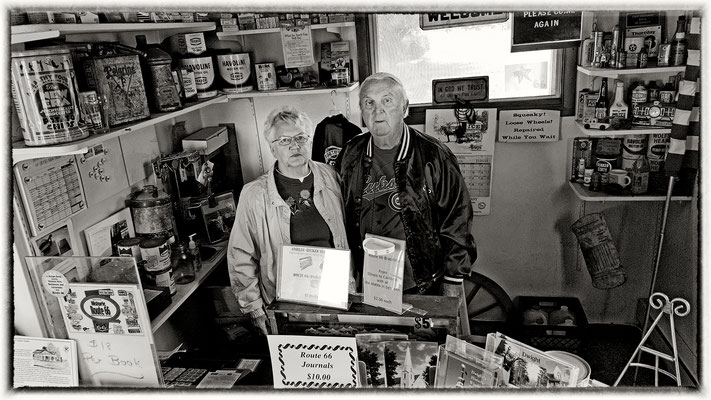 mr. and mrs. becker, ambler´s texaco gas station, dwight, illinois
