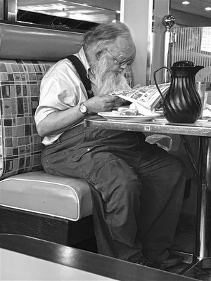 man in diner, albany, new york, usa