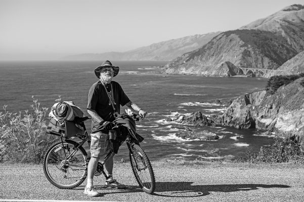 jeff, with bicycle, hurricane point, big sur, california, usa