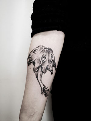 Blackwork tattoo monster
