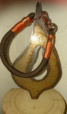 Halsband Braun mit Oranger Takelung, Verschluss Rose Gold