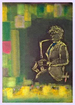 401 Saxophonist-Aluplatte 75x100cm/ÖL  .........................................(siehe Ware)