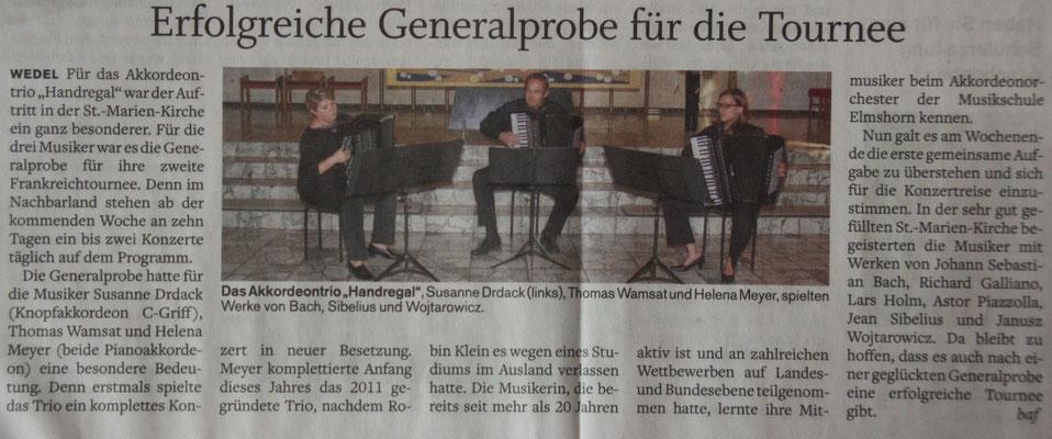 Rezension unseres Kirchenkonzerts in Wedel