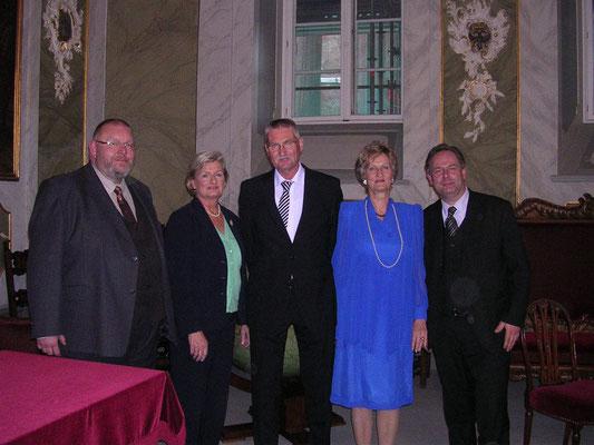 Gruppenbild beim Jahresempfang 2014: Marcel Niewöhner, Gastrednerin Renate Menken, Volker Krause, Astrid Stadthaus-Panissié und Lothar Möller