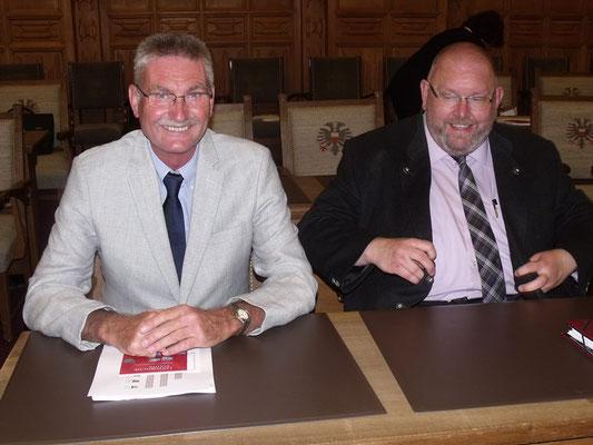 Volker Krause und Marcel Niewöhner in der Lübecker Bürgerschaft
