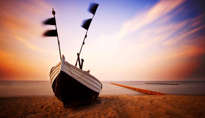 Die schöne Insel Usedom. Fischerboot vor im Ostseebad Bansin  Foto: ©UTG