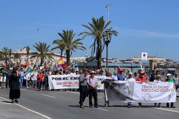 am 1. Mai (Día del Trabajo) wird auch in Cádiz demonstriert