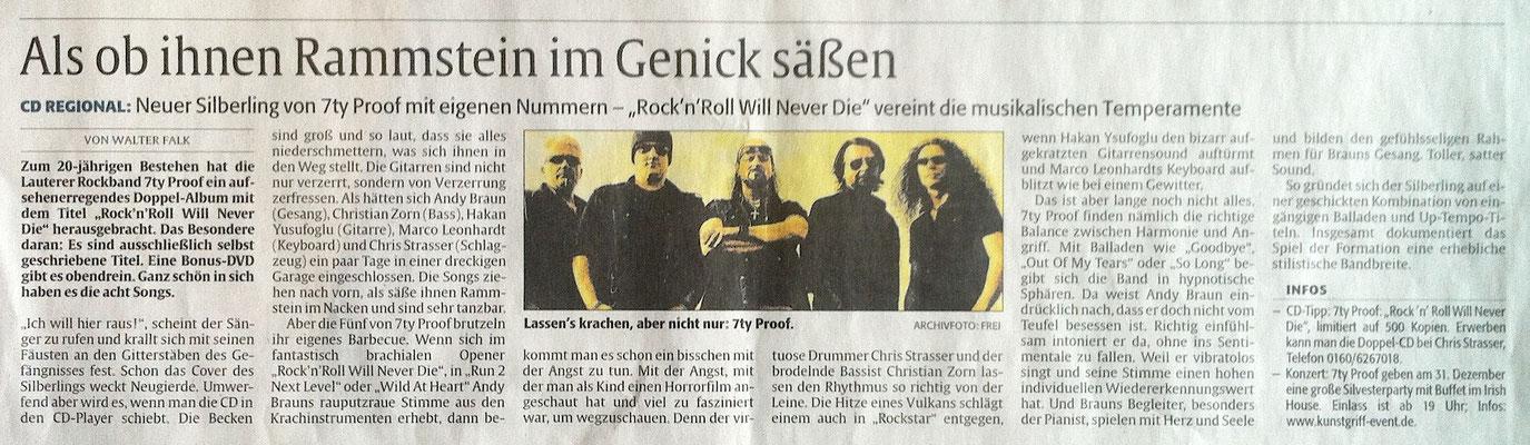 """Rheinpfalz  2016 - CD Kritik """"Rock ´n` Roll will never die"""""""