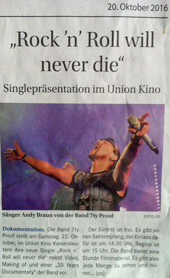 "Rheinpfalz 2016 - Union Kino Video ""Rock ´n` Roll will never die"""