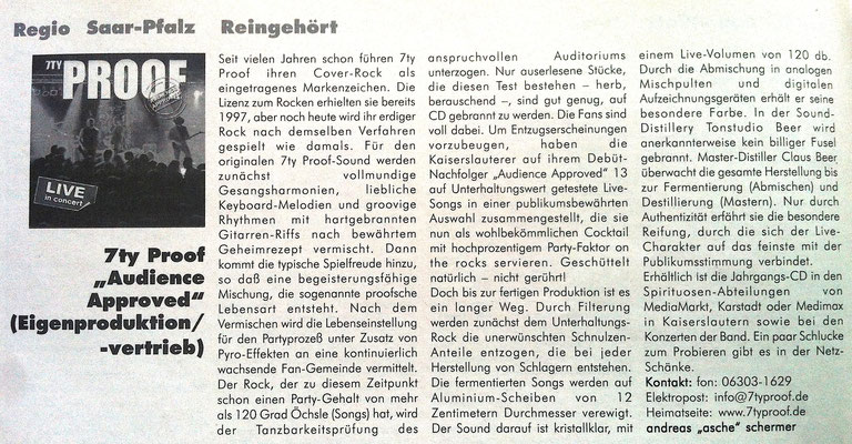 "Feedback Musikmagazin 2002 -CD Kritik ""Audience Approved"""