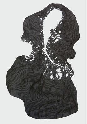 geschnürt, marker on paper,  59,4 x 42 cm