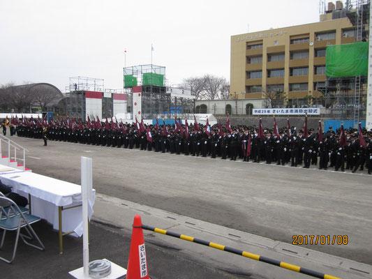 出初式開会宣言(消防団1,200名、少年消防団100名)