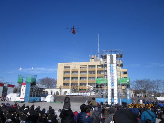 ヘリコプターによる救出活動