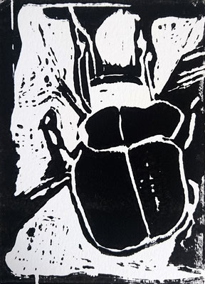 Caminante 40x30 cm Linogravure passe-partout blanc 2016