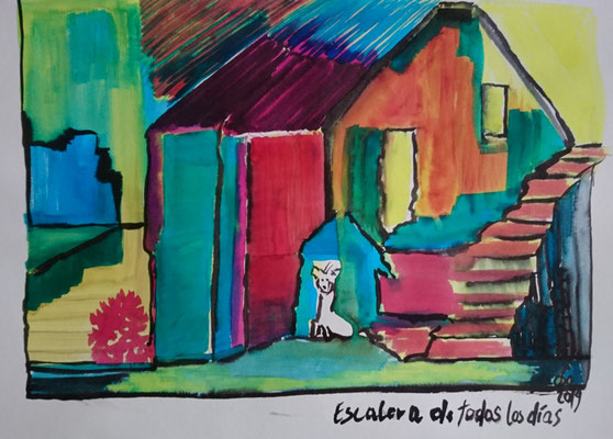 Escalera de todas los dias  Valparaiso Encre sur papier 300 grs 50x65 cm 2019