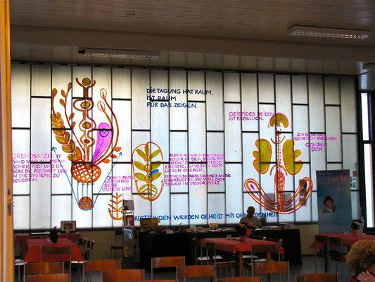 Wandgestaltung mit Arbeitsskripte zum Tagungsthema, 2009, Kirche Kurfürstenstrasse, Acryl auf Klarsichtfolie, 600x300cm