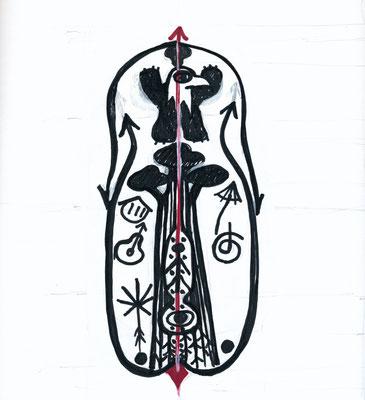 Entwurf Tattoo für KRAFTZEICHEN, 2014, permanent marker auf Papier
