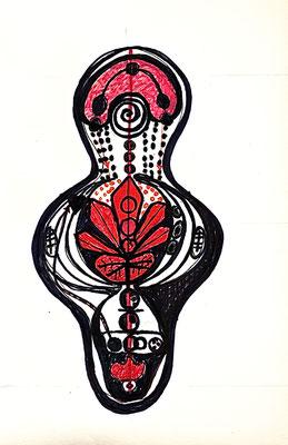 TATTOO KRAFTZEICHEN. Entwurfszeichnung, 2002, Tusche auf Papier