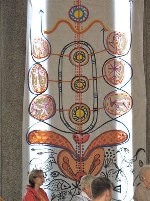 HEILERBAUM, Fenstervorhang, Kirche Kurfürstenstrasse, Acryl auf Folie, 150x280cm