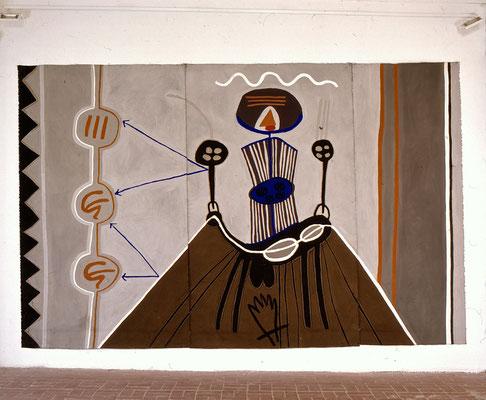 I Ging, Selbst mit Dämonen, 1995, Asche, Russ, Kalk, Pigment auf Leinen, 420x300cm