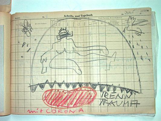 Monika Maria Nowak, TRENNTRAUMA MIT CORONA, 2020, Fettkreide auf vergilbtem Papier, 42x30cm