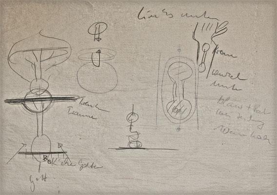Zeichnung während des Arbeitsprozesses zum TATTOO-KRAFTZEICHEN, 2010, Tusche auf Papier