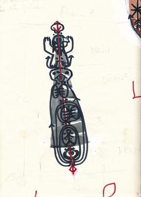 Entwurf Tattoo für KRAFTZEICHEN, 2014, permanent marker, Tusche auf Papier