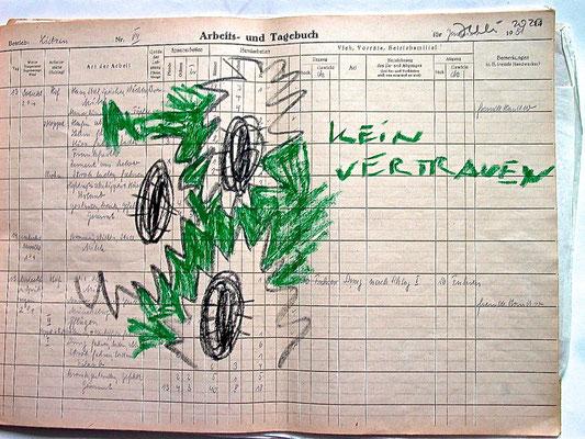 Monika Maria Nowak, KEIN VERTRAUEN, 2020, Fettkreide auf vergilbtem Papier, 42x30cm