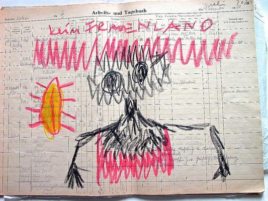 Monjika Maria Nowak, KEIN FRAUENLAND, 2020, Fettkreide auf vergilbtem Papier, 42x30cm