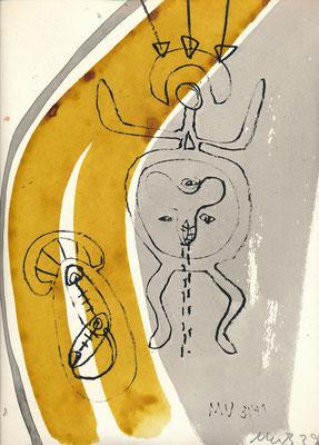 Zu BAPHOMET, WEG, 1991, Lithographie mit Tusche überzeichnet auf Druckpapier
