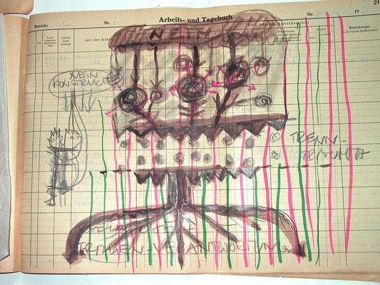 Monika Maria Nowak, TRENNTRAUMA MIT FRAUENVERANTWORTUNG, 2020, Fettkreide, Tusche auf vergilbtem Papier, 42x30cm