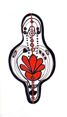 HELFER, TATTOO KRAFTZEICHEN, 2002, Entwurfzeichnung, Tusche auf Papier