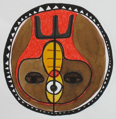 TATTOO KRAFTZEICHEN, 2007, farbiger Entwurf, Tusche, marker auf Papier