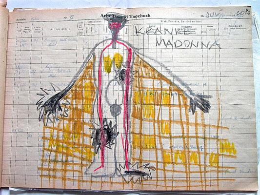 Monika Maria Nowak, KRANKE MADONNA, 2020, Fettkreide auf vergilbtem Papier, 42x30cm