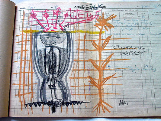 Monika Maria Nowak, DENK-GEIST, 2020, Fettkreide, Tusche auf vergilbtem Papier, 42x30cm