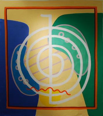 KRAFTBILD FÜR CH.,2008, nach einer Systemaufstellung, Acryl auf Leinen, 150x140cm Ausstellung Galerie B, 2009, F/O