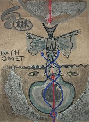 BAPHOMET III, 2021, Acryl, Kreide, Russ, Papiercollage, marker auf Packpapier, 60x80cm