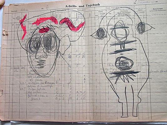 Monika Maria Nowak, DEPRESSION, 2020, Graphit, Fettkreide auf vergilbtem Büropapier von 1952, 42x30cm