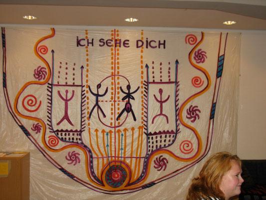 ICH SEHE DICH, Wandgestaltung Eingang, 2009, Kirche Kurfürstenstrasse, Acryl auf Klarsichtfolie