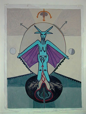 BAPHOMET I, 2021, Acryl auf Karton, 156x202 cm