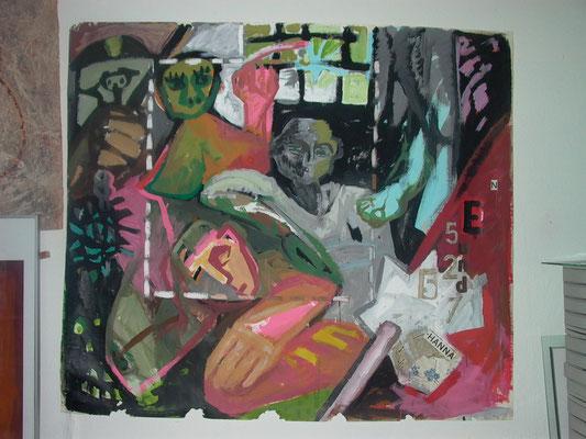 Einblick, 1983, Latex, Papiercollage auf Karton