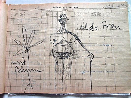 Monika Maria Nowak, ALTE FRAU MIT BLUME, 2020, Fettkreide auf vergilbtem Papier, 42x30cm