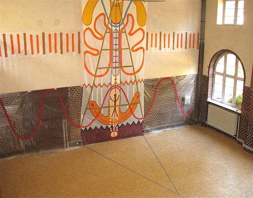 global scaling, WEG, Wandgestaltung, 2007, Acryl auf Folie, Berlin Lichtenberg, Mittelteil 150x700cm