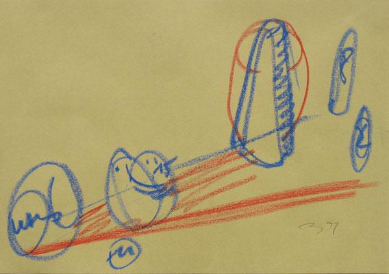Skizze zur Systemaufstellung, Fettkreide auf Achatpapier, 2006