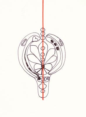 TATTOO KRAFTZEICHEN, 2002, Entwurfszeichnung, Tusche auf Papier