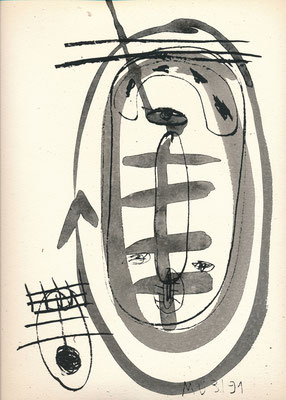 Zu BAPHOMET, SELBST, 1991, Lithographie mit Tusche überzeichnet auf Druckpapier
