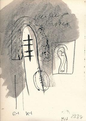 Zu BAPHOMET, GEIST-ICH-KÖRPER-ICH, 1991, Lithographie mit Tusche überzeichnet auf Druckpapier
