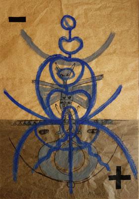 BAPHOMET MIT ZEICHEN FRAUENKREISE, 2021, Acryl, Marker, Klebeband auf Fettpapier, 70x100cm